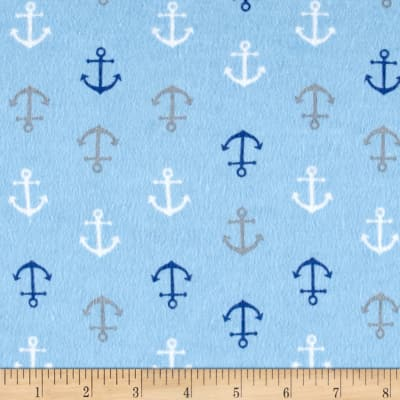 Flannel Baby Anchors Blue