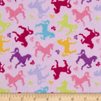 Sweet Horse Carousel Horses and Bows Flannel Pink/Multi