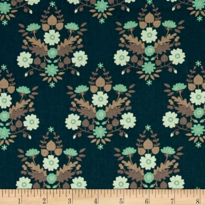 Flourish Floral Damask Dark Teal