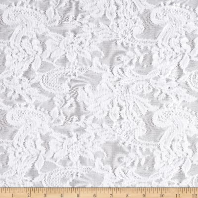 Stretch Floral Lace White