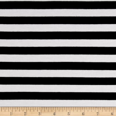 Rayon Spandex Jersey Knit Stripe Black/White