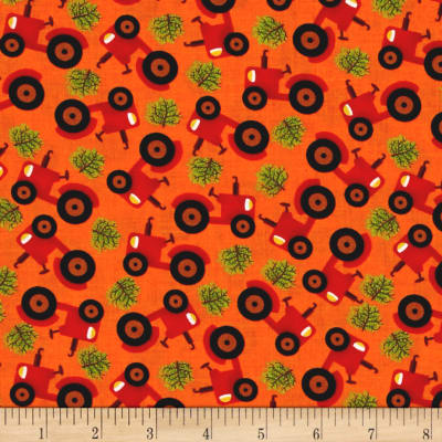 Barnyard Quilts Tractor Orange/Red