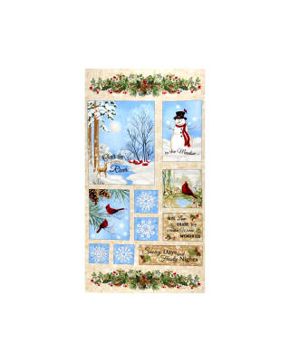"Timeless Treasures Winter Memories 24"" Winter Scenic Flannel Panel Beige"