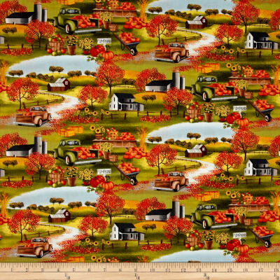 Timeless Treasures Pumpkin Patch Scenic Green