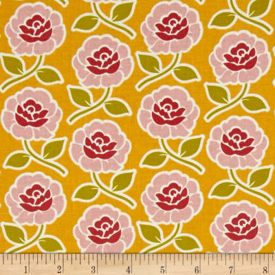 Riley Blake Farm Girl Rose Trellis Yellow