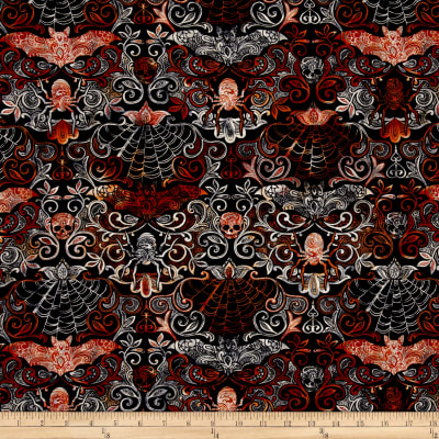 Timeless Treasures Wicked Night Halloween Damask Black