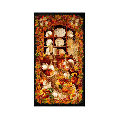 "Timeless Treasures Give Thanks Metallic 24"" Harvest Panel Black"
