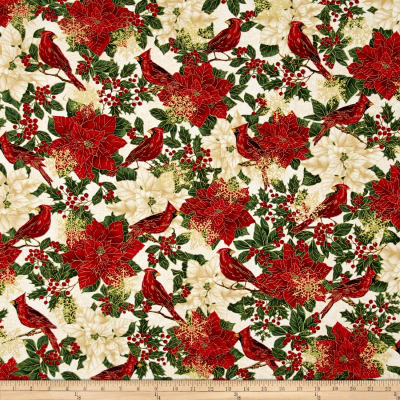 Timeless Treasures Glamorous Holiday Cardinals Cream