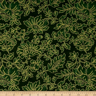 Timeless Treasures Glamourous Holiday Floral Green