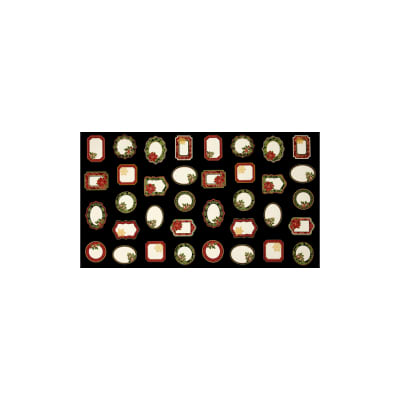 "Timeless Treasures Glamourous Holiday Christmas 23"" Panel Labels Black Metallic"