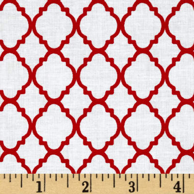 Petit Quatrefoil White/Red