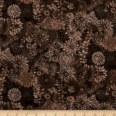 """108"""" Wide Quilt Back Packed Floral Brown"""