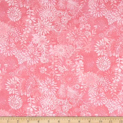 "108"" Wide Quilt Back Packed Floral Pink"