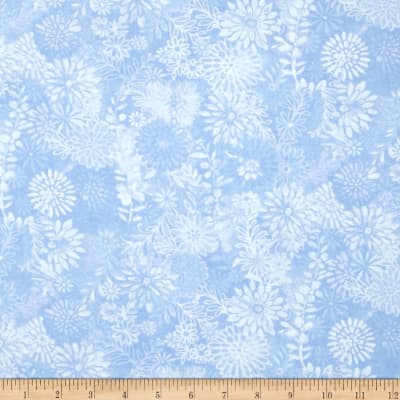 """44"""" Wide Quilt Packed Floral Blue"""