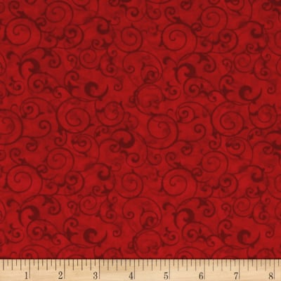 Poppy Celebration Scrolls All Over Red