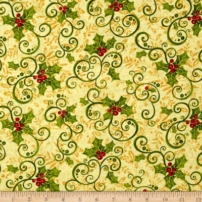 Mistletoe Metallic Holly Gold