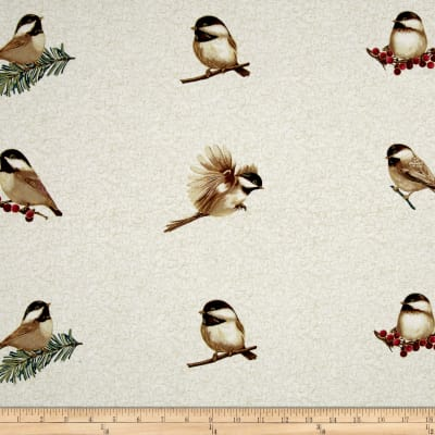 Chickadees & Berries Metallic Chickadee Applique Print Parchment