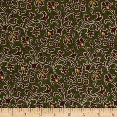 Cozies Flannel Harvest Scroll Green