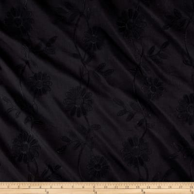 Cotton Floral Embroidery Black