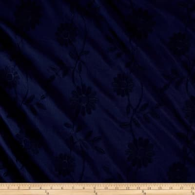 Cotton Floral Embroidery Navy