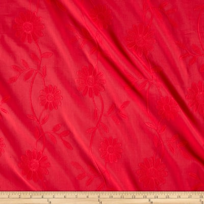 Cotton Floral Embroidery Coral Red