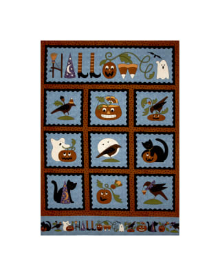 Pumpkin Party Flannel Halloween 36 In. Panel Blue