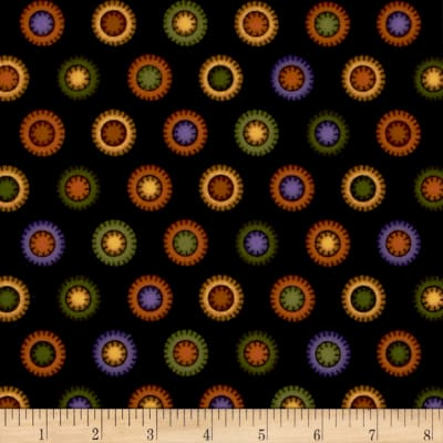 Pumpkin Party Flannel Stitched Circles Multi
