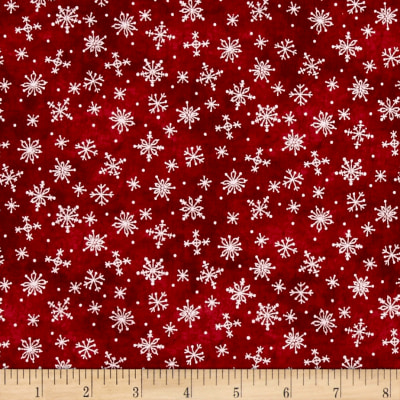 Just Be Claus Stitched Snowflakes Red