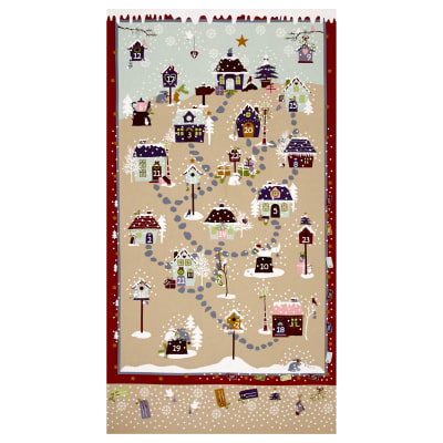 "Snow Village 25"" Panel Advent Calander Tan"