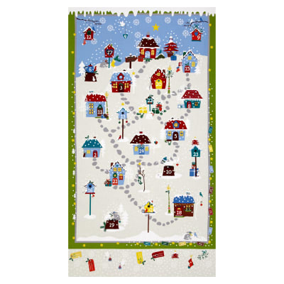 "Snow Village 25"" Panel Advent Calander Cream"