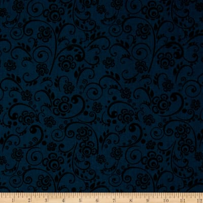 "108"" Wide Quilt Back Floral Swirl Navy"