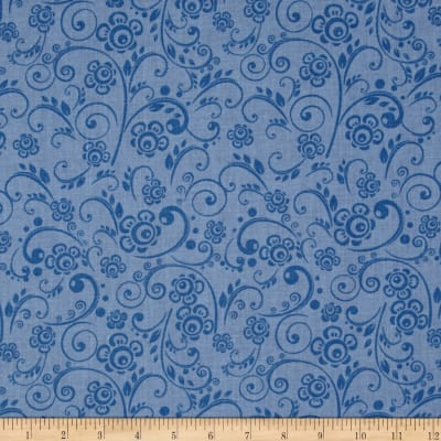 """108"""" Wide Quilt Back Floral Swirl Periwinkle"""