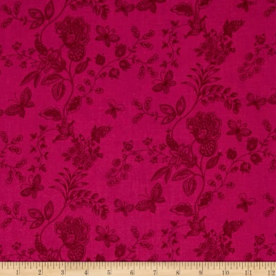 """108"""" Wide Quilt Back Floral Butterfly Hot Pink"""