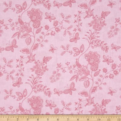 """108"""" Wide Quilt Back Floral Butterfly Pink"""