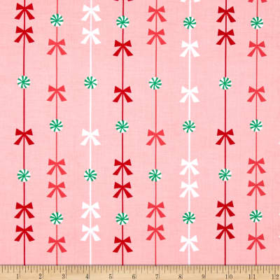 Michael Miller Holiday Party Peppermint Stripe Pink