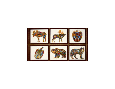 Kaufman Animal Spirits 2 Metalllics Wildlife 24 In. Panel Blocks Earth Metallic