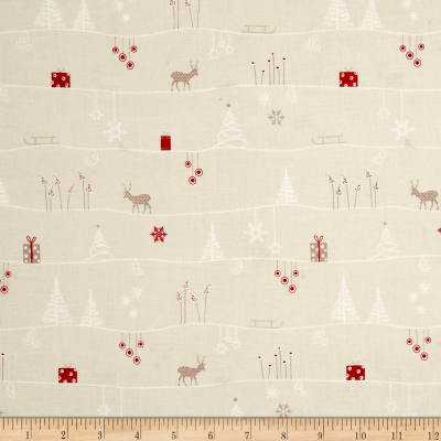 Silent Christmas Scenic Repeating Stripe Cream