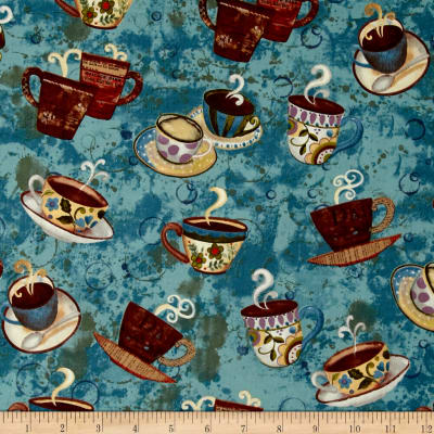 Coffee House Cups & Saucer Teal
