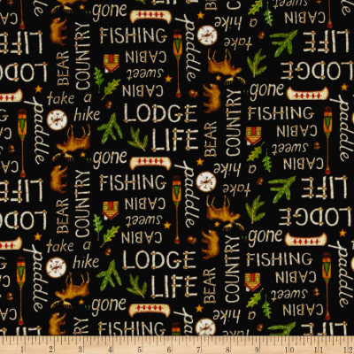 Lodge Life Flannel Words Black