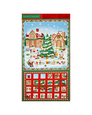Christmas Village Advent Calendar 24 In. Panel Metallic