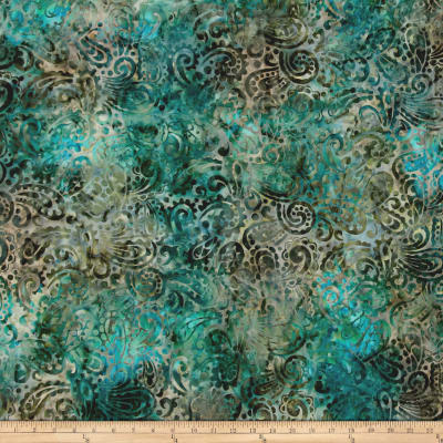 Kaufman Regal Batiks Leaf Paisley Teal