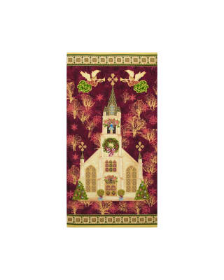 Silent Night Cathedral 24 In. Panel Burgundy Metallic