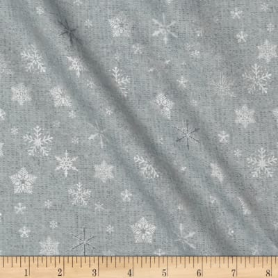 Glimmering Tossed Snowflakes Grey/Silver Metallic