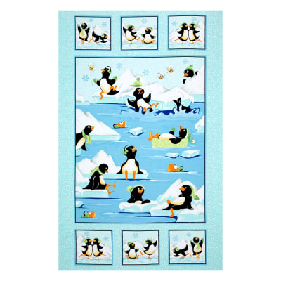 Susybee Gwyn the Penguin Gwyn Quilt 36 In. Panel Aqua