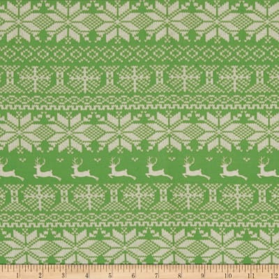 Nordic Christmas Reindeer Stripe Green