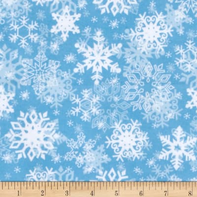 Snow Buddies Flannel Snowflakes Blue