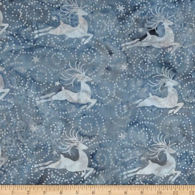Island Batik Tinsel Deer Steel Blue/Grey