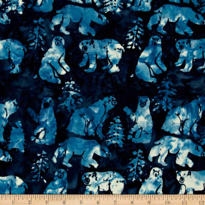 Island Batik Tinsel Bear Dark Blue