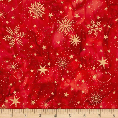 Island Batik Holiday Happenings Metallic Star Swirl Red