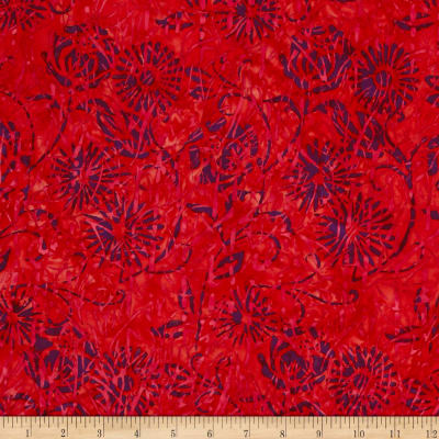 Island Batik Coral Reef Twigs Branches Puple/Red/Fush